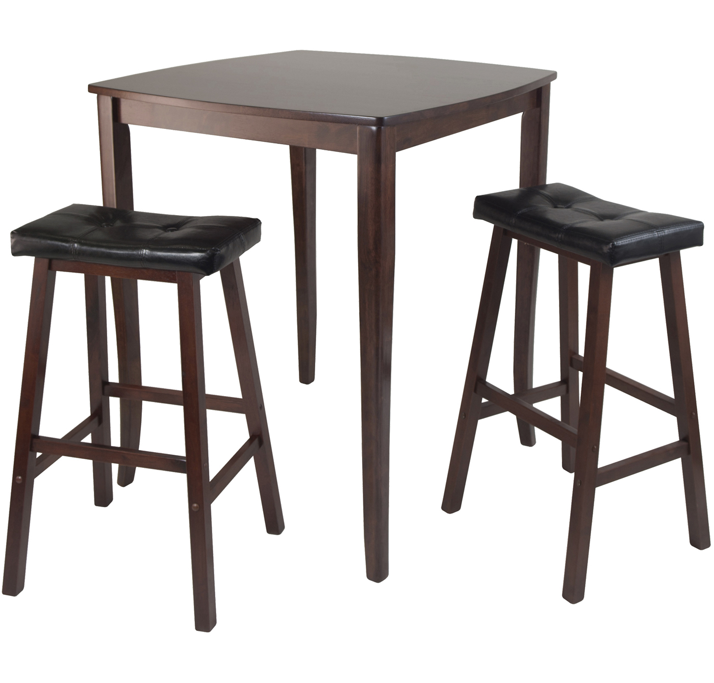High Table With Cushion Saddle Stools (Set Of 3) In Bar