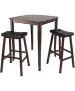 Inglewood 3PC High Table with Cushion Saddle Stools - by Winsome Trading