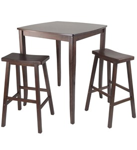 Inglewood 3PC High Table with Saddle Stools - by Winsome Trading Image