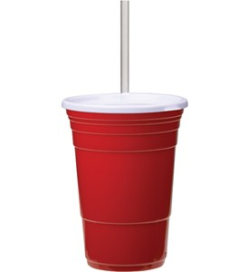 Tumbler with Straw - Red Party Cup Image