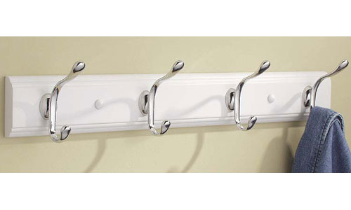 Wood Hat and Coat Hook Rack - White Image