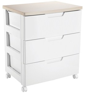 Iris Hard Top Three-Drawer Storage Chest - White Image