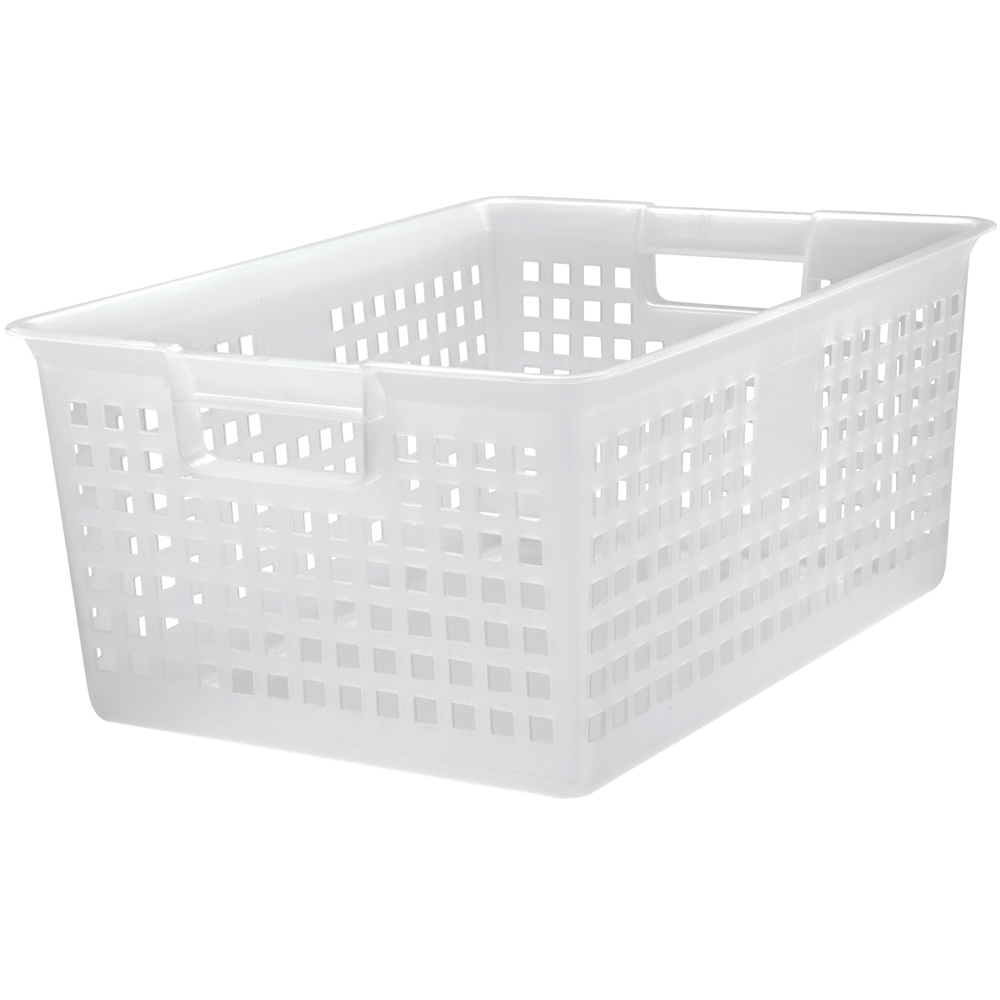 iris plastic mesh storage baskets clear in plastic baskets. Black Bedroom Furniture Sets. Home Design Ideas