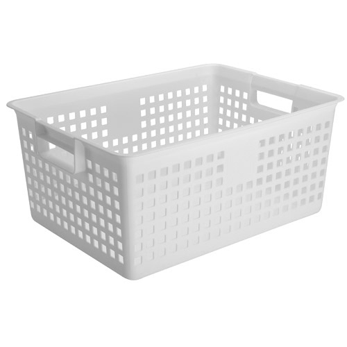 iris plastic mesh storage baskets white in plastic baskets. Black Bedroom Furniture Sets. Home Design Ideas