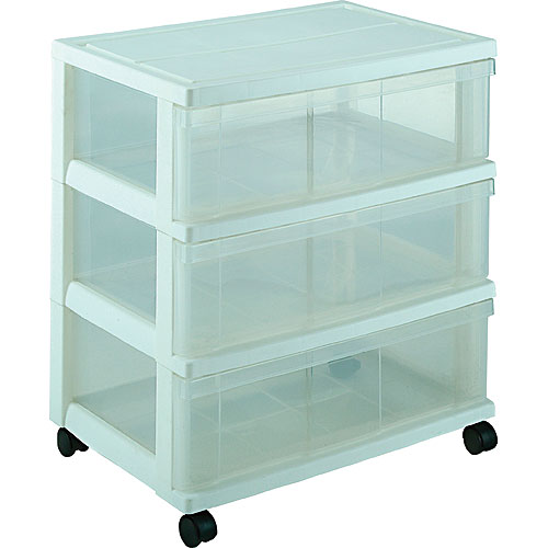 Iris Wide Three-Drawer Storage Chest - White Image