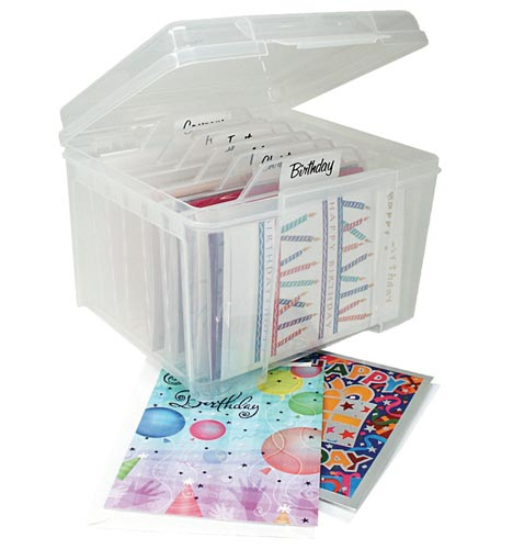 Plastic Greeting Card Organizer in Gift Wrap Organizers