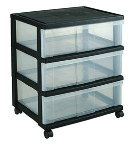 Iris Wide Three-Drawer Storage Chest - Black Image