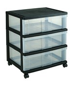 Iris Wide Three-Drawer Storage Chest - Black