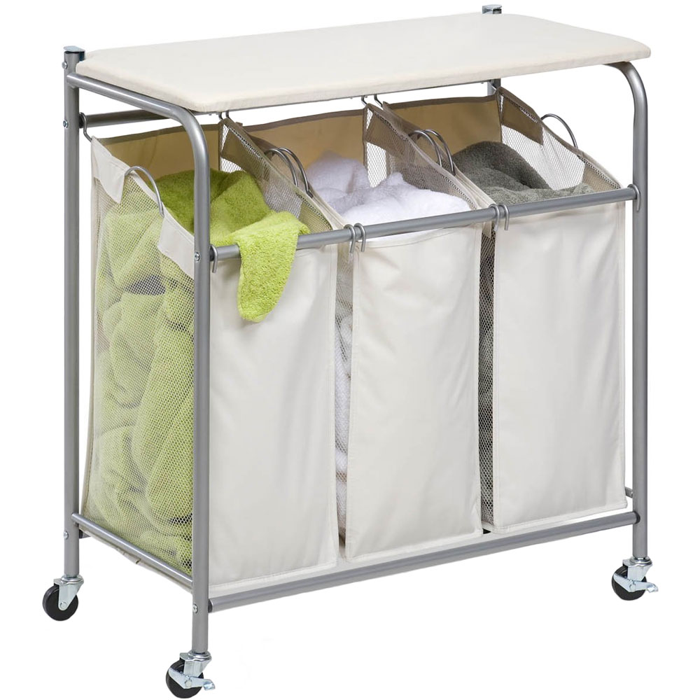 laundry sorter with ironing board in laundry carts. Black Bedroom Furniture Sets. Home Design Ideas
