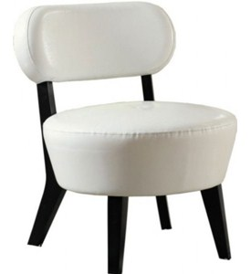IVORY BONDED LEATHER ACCENT CHAIR BY MONARCH SPECIALTIES Image