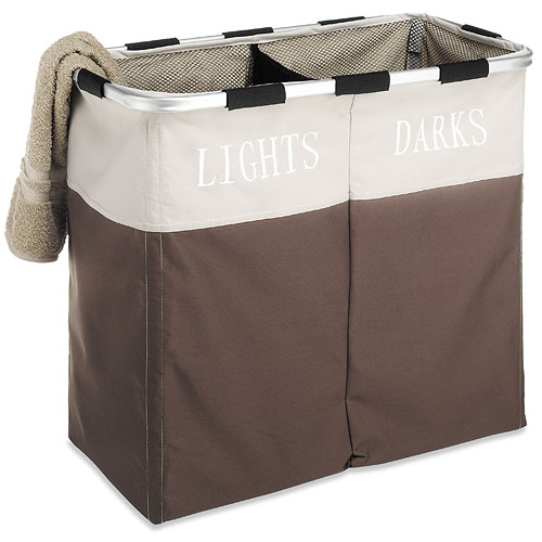 Lights and dark double laundry sorter java brown in laundry sorters - Divided clothes hamper ...