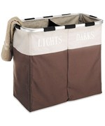 Lights and Dark Double Laundry Sorter - Java Brown