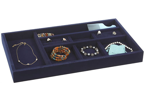 Blue Velvet Jewelry Organizer 215 Inch in Jewelry Trays