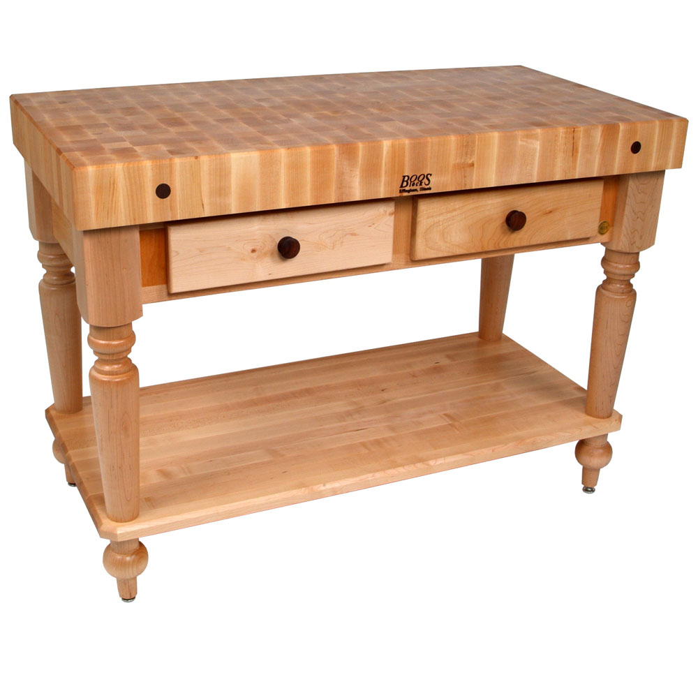 Rustica Kitchen Island With Butcher Block Top In Kitchen