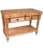 Rustica Kitchen Island with Butcher Block Top