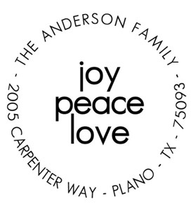 Joy Peace Love Personalized Holiday Address Stamp Image