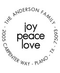 Joy Peace Love Personalized Holiday Address Stamp