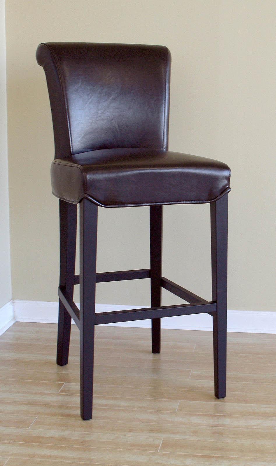 Julian dark brown full leather bar stools set of 2 in for Dark wood bar stools