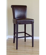 Julian Dark Brown Full Leather Bar Stools - Set of 2