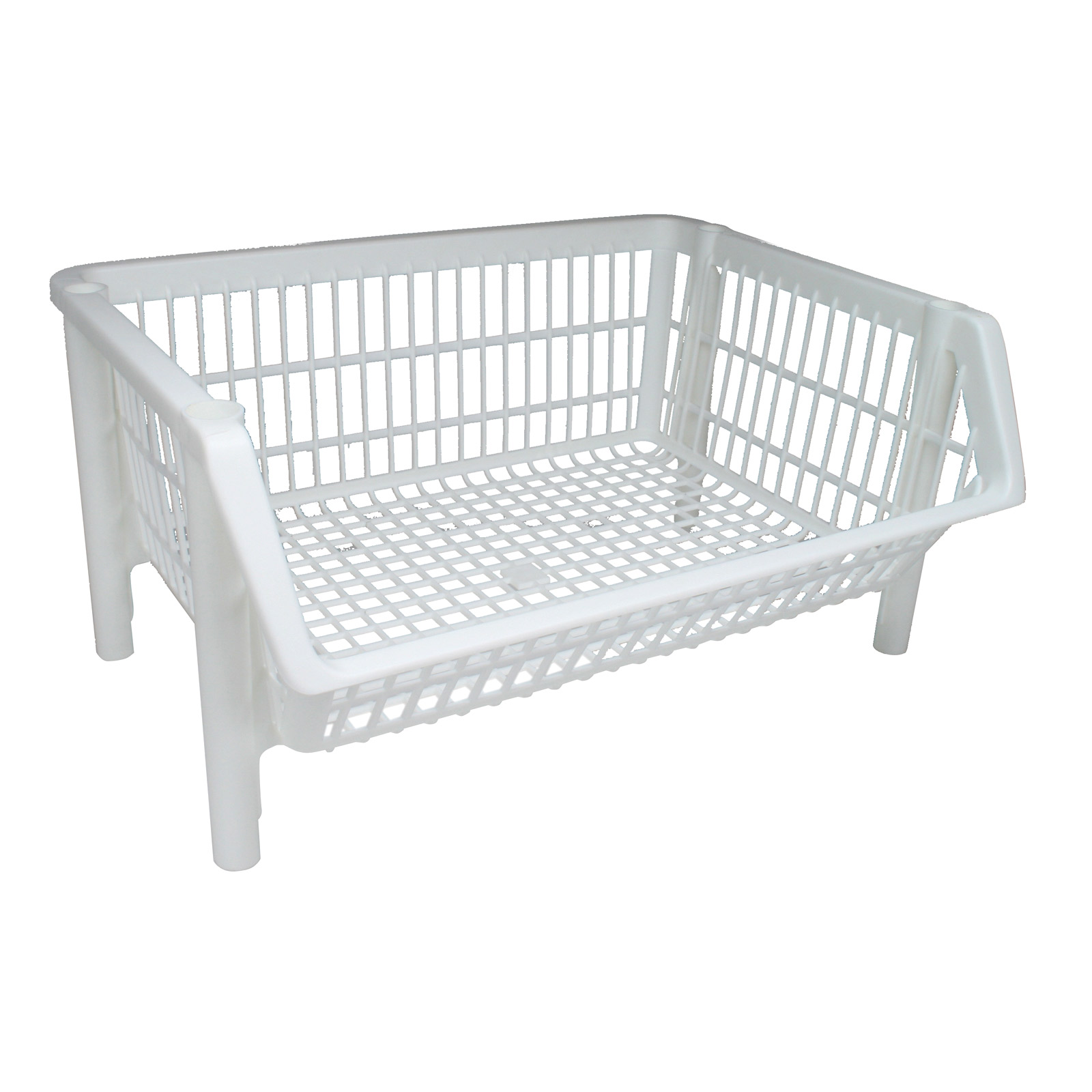 Iris Stackable Plastic Storage Basket   White Image