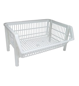Iris Stackable Plastic Storage Basket - White Image