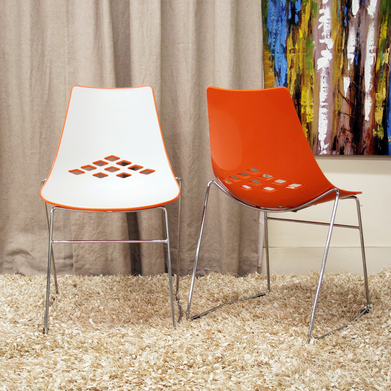 Marvelous Jupiter White And Orange Plastic Modern Dining Chairs   Set Of 2 By  Wholesale Interiors Image