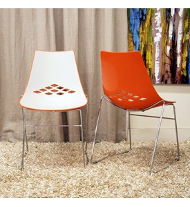 Jupiter White and Orange Plastic Modern Dining Chairs - Set of 2 by Wholesale Interiors Image