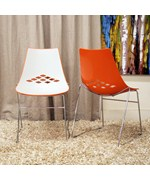 Jupiter White and Orange Plastic Modern Dining Chairs - Set of 2 by Wholesale Interiors