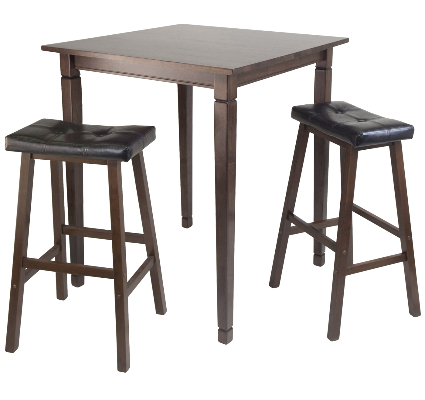 High Top Table With Saddle Stools Set Of 3 In Bar Table Sets