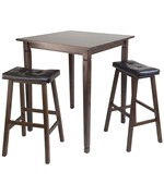 Kingsgate 3PC High Table with Cushion Saddle Stools - by Winsome Trading