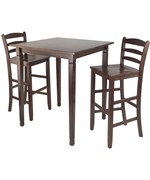 Kingsgate 3PC High Table with Ladder Back Stools - by Winsome Trading