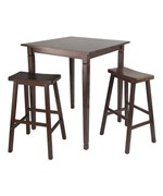 Kingsgate 3PC High Table with Saddle Stools - by Winsome Trading