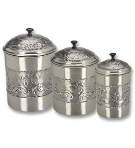 kitchen canister set embossed pewter