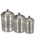 Kitchen Canister Set - Embossed Pewter