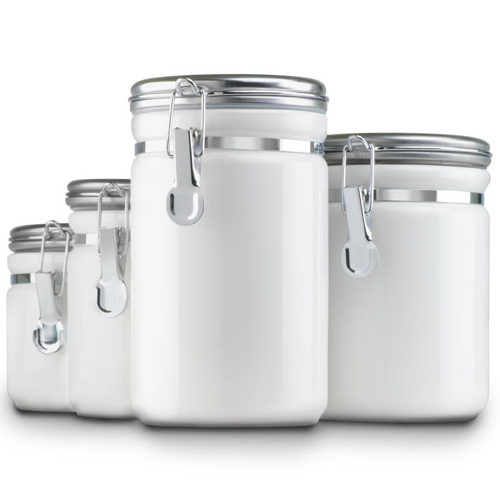 Ceramic Kitchen Canisters White Set of 4 in Kitchen Canisters