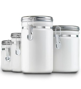Ceramic Kitchen Canisters - White (Set of 4) Image