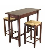 Kitchen Island with Two Woven Seat Stools - 3 Piece Set