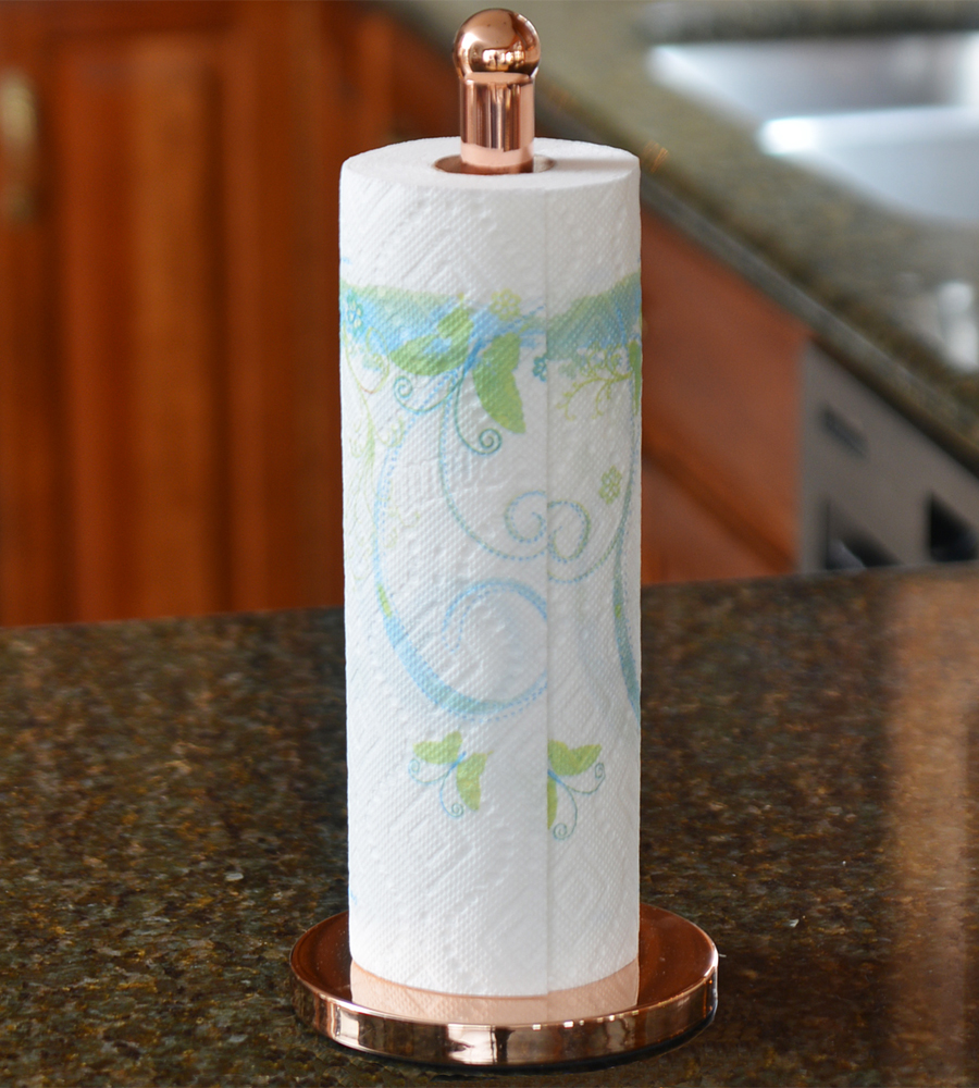 Kitchen paper towel holder copper in paper towel holders for Bathroom counter towel holder