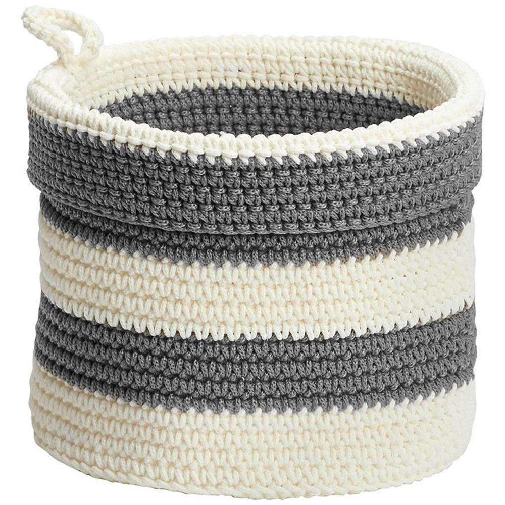 Knit Basket Striped In Shelf Bins