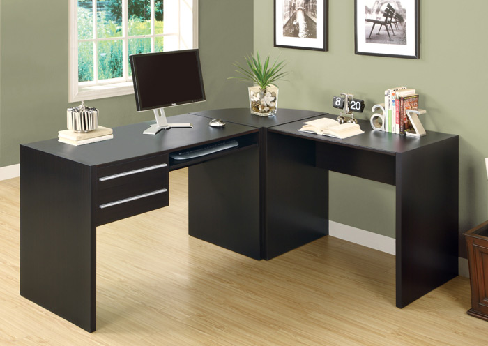 L shaped computer desk cappuccino in desks and hutches - Organize computer desk ...