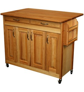 Large Butcher Block Island with Raised Panel Doors by Catskill Craftsmen Image