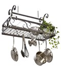 Large Hanging Basket Pot Rack - Hammered Steel