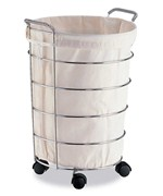 Rolling Lined Laundry Basket