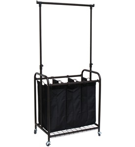 Laundry Sorter with Hanging Bar Image