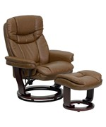 Bonded Leather Recliner and Ottoman with Swiveling Mahogany Wood Base by Flash Furniture