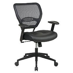 Leather Seat Air Grid Back Managers Chair with 2-to-1 Synchro Tilt Control Image