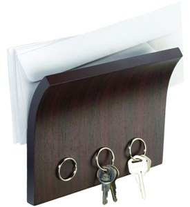 Letter Holder and Magnetic Key Rack - Espresso Image