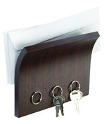 Letter Holder and Magnetic Key Rack - Espresso