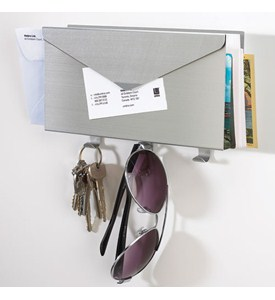 Mail Organizer and Key Rack - Brushed Aluminum Image