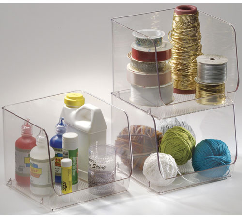 Exceptional Stackable Clear Plastic Storage Bin   Large Image